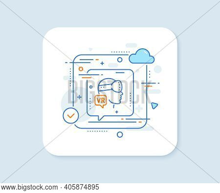 Augmented Reality Line Icon. Abstract Vector Button. Vr Simulation Sign. Gaming Headset Glasses Symb