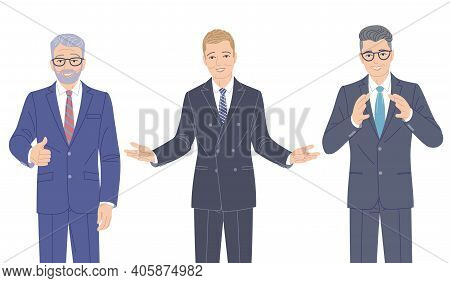 Confident Speaking Men In Strict Clothes Isolated On White. Elderly And Young Friendly Business Men