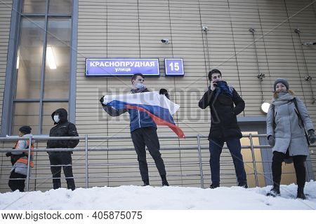 Moscow, Russia - 31 January 2021, Mass Protests In Russia Call For Alexei Navalny's Release. Young M