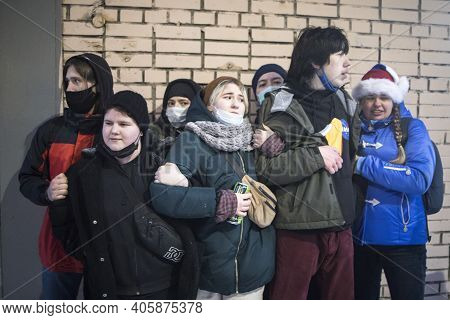 Moscow, Russia - 31 January 2021, Mass Protests In Russia Call For Alexei Navalny's Release. Young P