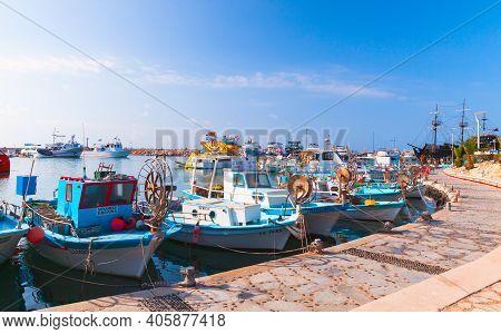Ayia Napa, Cyprus - June 11, 2018: Small Greek Fishing Boats Are Moored At Agia Napa Marina