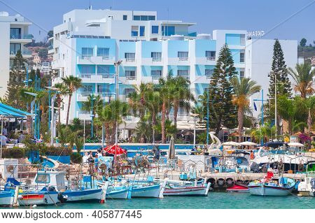 Ayia Napa, Cyprus - June 12, 2018: Agia Napa Coastal View. Resort Town At The Far Eastern End Of The