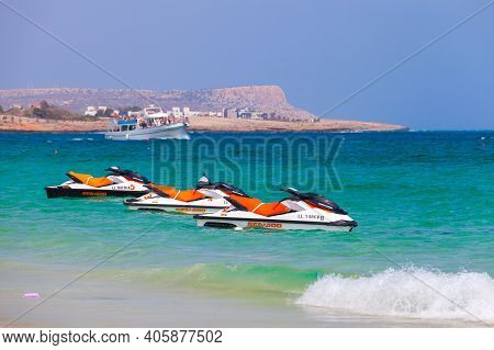Ayia Napa, Cyprus - June 12, 2018: Few Jet Skis For Rent Are On The Beach Of Agia Napa