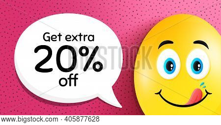Get Extra 20 Percent Off Sale. Easter Egg With Yummy Smile Face. Discount Offer Price Sign. Special