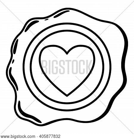 Wax Seal Line. A Beautiful Depiction Of A Heart Embossed On Wax For Letters With A Love Message.