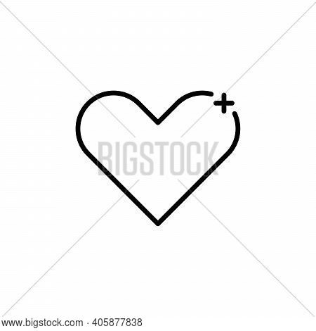 Heart Plus Sign. Favorite Icon In Thin Outline Style. Internet Symbol Like Plus Heart Shape. Stock V