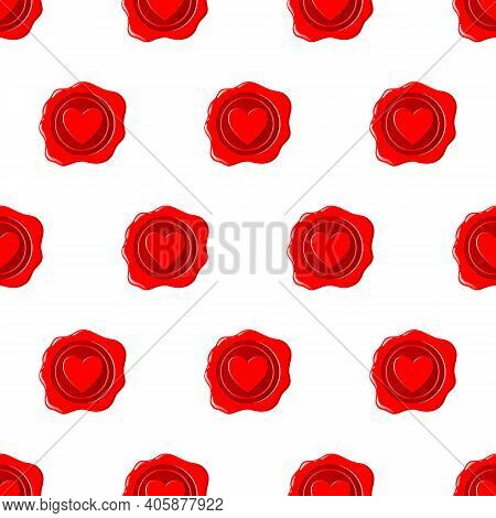 Wax Seal Seamless Pattern. A Beautiful Depiction Of A Heart Embossed On Wax For Letters With A Love