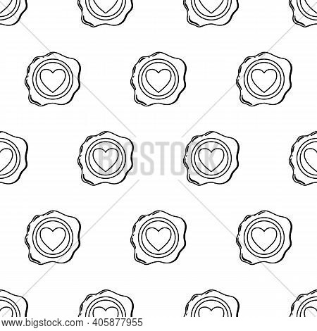 Wax Seal Seamless Pattern Line. A Beautiful Depiction Of A Heart Embossed On Wax For Letters With A