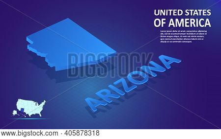 Isometric Arizona State Map On Blue And Glowing Background. 3d Detailed Map In Perspective With Plac