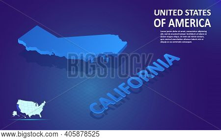 Isometric California State Map On Blue And Glowing Background. 3d Detailed Map In Perspective With P