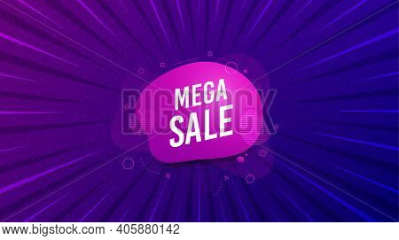 Mega Sale Sticker. Purple Background With Offer Message. Discount Banner Shape. Coupon Bubble Icon.