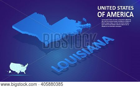 Isometric Louisiana State Map On Blue And Glowing Background. 3d Detailed Map In Perspective With Pl