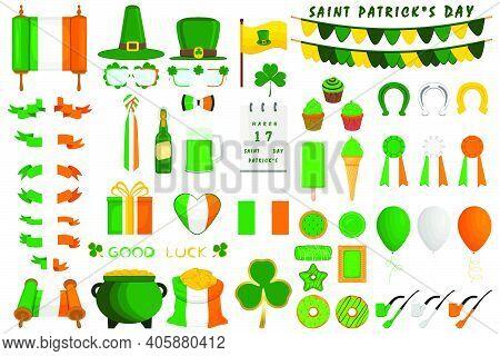 Illustration Irish Holiday St Patrick Day, Gold Coins In Pot. Big Set Irish St Patrick Day Consistin