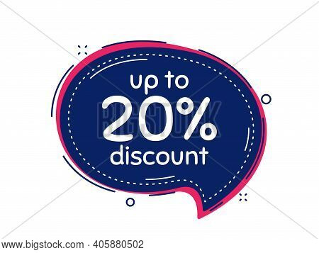 Up To 20 Percent Discount. Thought Bubble Vector Banner. Sale Offer Price Sign. Special Offer Symbol