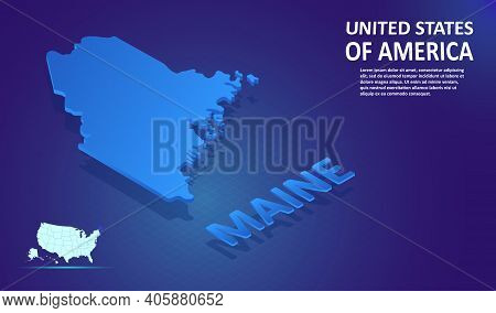 Isometric Maine State Map On Blue And Glowing Background. 3d Detailed Map In Perspective With Place