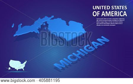 Isometric Michigan State Map On Blue And Glowing Background. 3d Detailed Map In Perspective With Pla