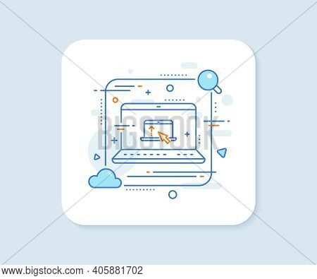 Swipe Up Laptop Line Icon. Abstract Vector Button. Scrolling Arrow Sign. Landing Page Scroll Symbol.