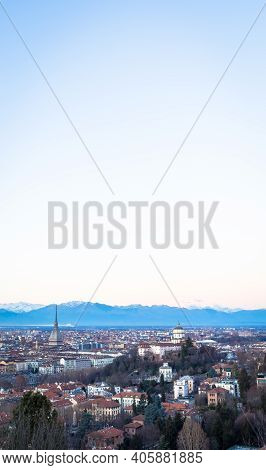 Turin, Italy - Circa August 2020: Panoramic View With Skyline At Sunset. Wonderful Alps Mountains In
