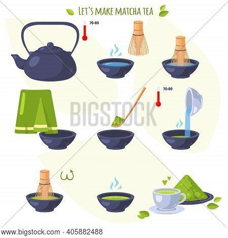 Japanese Ceremony With Matcha. Lets Make Matcha Tea. Steps To Get Finished Japanese Healthy Drink. I