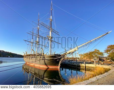 Mystic, Connecticut - October 30, 2020: Mystic Seaport, Outdoor Recreated 19th Century Village And E