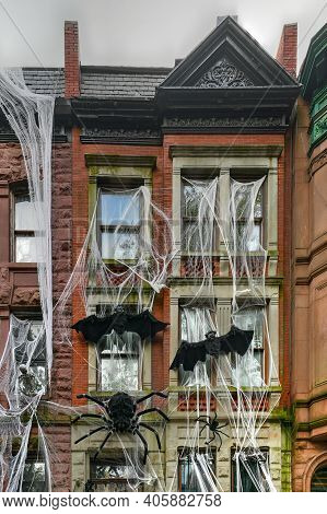 Brownstone House Decorated In Honor Of Halloween In New York City.