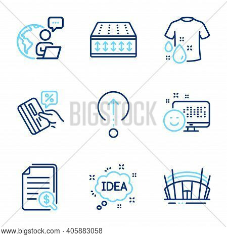 Business Icons Set. Included Icon As Wash T-shirt, Credit Card, Flexible Mattress Signs. Arena Stadi