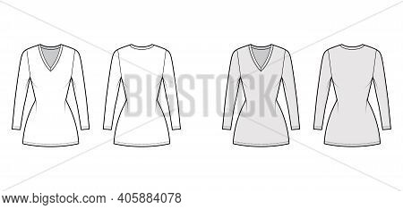 T-shirt Dress Technical Fashion Illustration With V-neck, Long Sleeves, Mini Length, Fitted Body, Pe