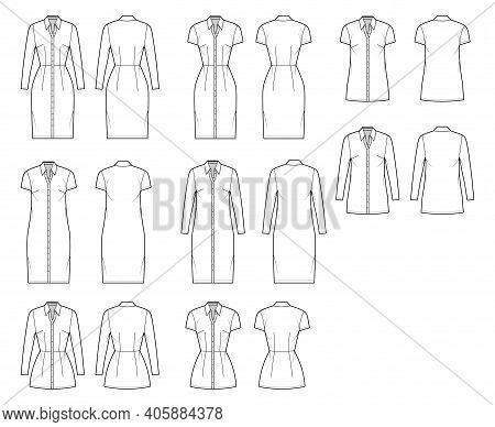 Shirt Dress Technical Fashion Illustration With Classic Regular Collar, Knee, Mini Length, Oversized