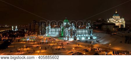 Palace Of Farmers, Ministry Of Agriculture And Food Of Republic Of Tatarstan In Kazan. Panoramic Sho