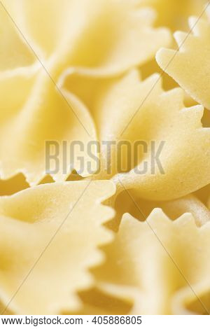 Close Up Of Italian Farfalle Pasta Raw Uncooked Blur Defocused