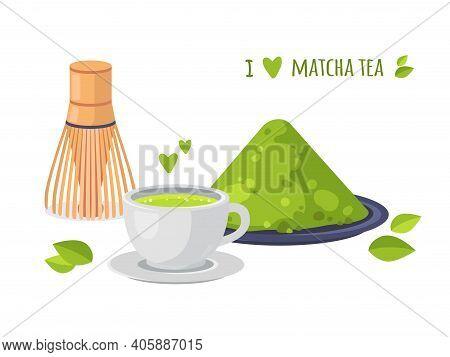 Matcha Tea Greeting Card. Japanese Healthy Drink. Collection Of Matcha Tea Products. Matcha Powder,