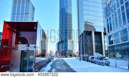 Warsaw, Poland. 31 January 2021.view Of Skyscrapers During Snowfall.urban Cityscape And Modern Archi