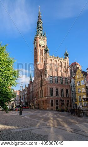 Gdansk, Poland - June 1, 2019: General View Of Gdansk Main Town Hall (ratusz) From Dlugi Targ Place
