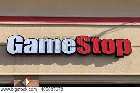 Helena, Montana - January 31, 2021: Gamestop Logo Sign Of Storefront, In The News Stock Rise From Re