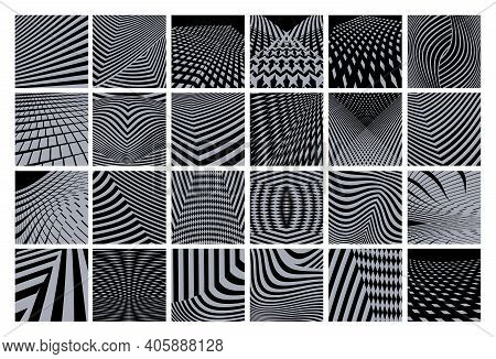 Abstract Geometric Background Set With Stripes. Modern Concept. Can Be Used For Banners, Covers, Web