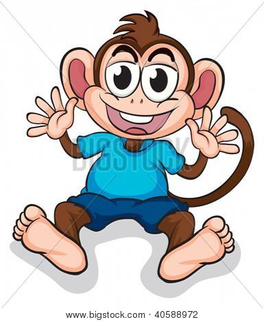 Illustration of a happy monkey on a white background
