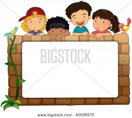 Illustration of a white board, kids and birds on a white background