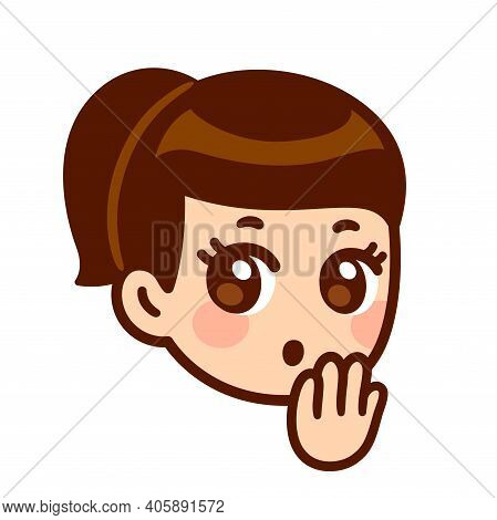 Surprised Girl Face With Hand Covering Mouth. Cute Cartoon Anime Character With Shocked Oops! Expres