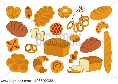 Bread Flat Icon Set Whole Grain Bakery Vector