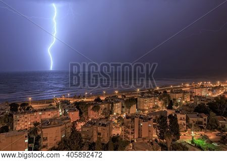 Severe Thunderstorm And Lightning Out To Sea In Haifa In January