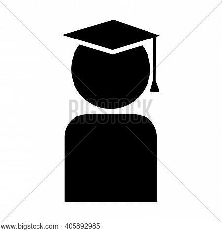 Icon With Graduate Icon. Silhouette Vector. Celebration Vector Background. Design Element. Stock Ima