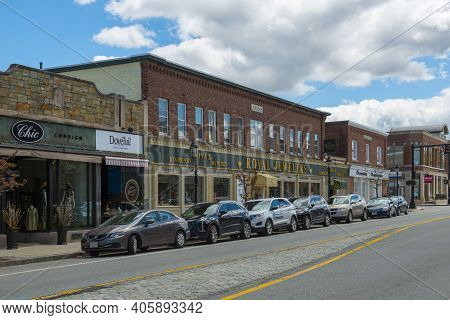 Andover, Ma, Usa - Apr. 24, 2019: Historic Commercial Buildings On Main Street Near Old Town Hall In