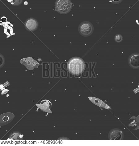 Flat Cartoon Style Space Pattern. Astronaut With Rocket And Alien In The Open Space Cute Design For