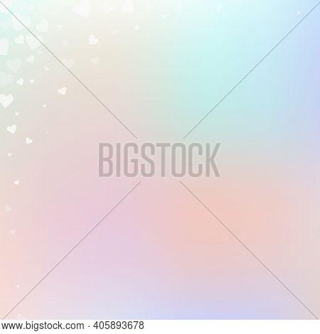 White Heart Love Confettis. Valentines Day Corner Rare Background. Falling Transparent Hearts Confet