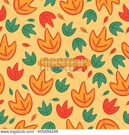 Cartoony Autumn Fall Orange And Green Leaves Foliage Seamless Pattern
