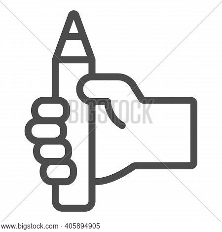 Pencil In Hand Line Icon, Online Education Concept, Education Idea Sign On White Background, Hand Wi