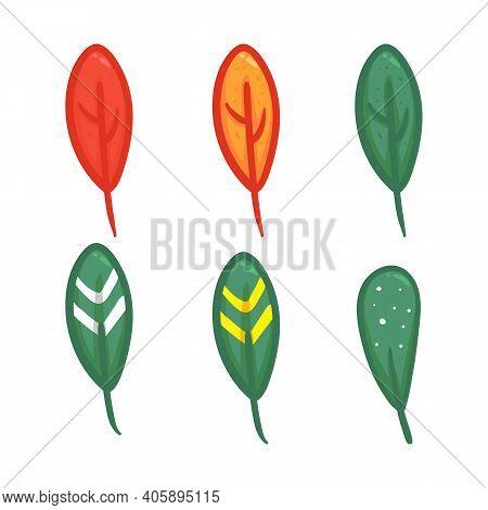 Tree Leaf Set In Cartoony Hand Drawing