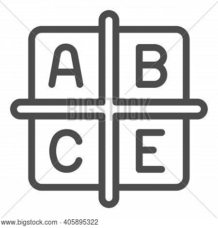 A B C E Vitamins Line Icon, Diet Concept, Four Groups Of Vitamins Sign On White Background, Cubes Wi