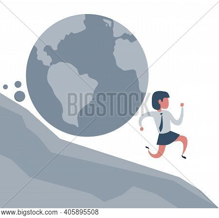 Businesswoman Running Away From Planet Earth That Is Rolling Down To Him. Climate Change Concept. Ve