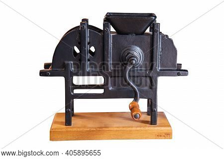 Vintage Hand Cranked Coffee Grinder Isolated On White Backgrounds Work With Clipping Path